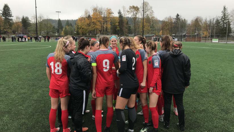 Thorns Academy U-19s, team huddle, 11.11.17