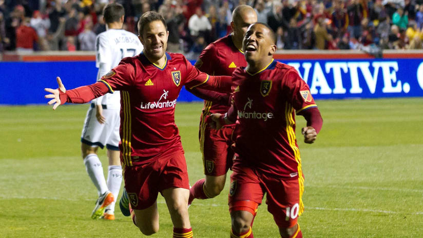 Juan Manuel Martinez and Joao Plata celebrate vs Vancouver 0416