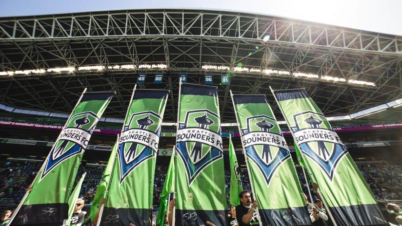 flags at stadium