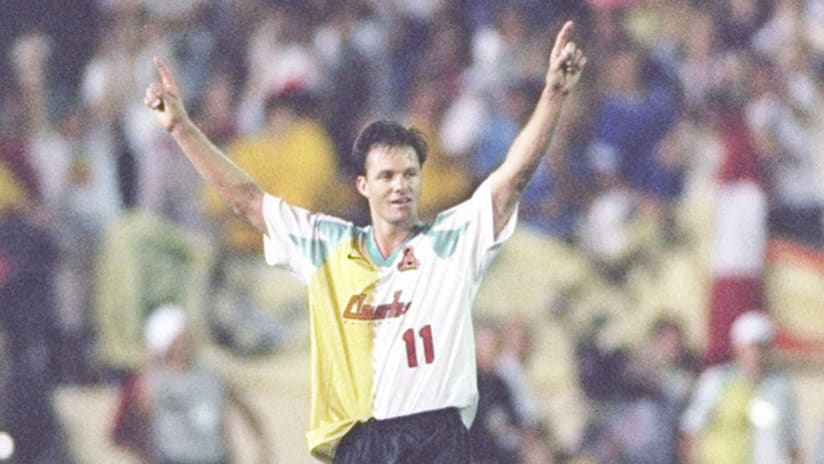 Eric Wynalda celebrates the San Jose Clash's win over D.C. United in the inaugural MLS game on April 6, 1996.