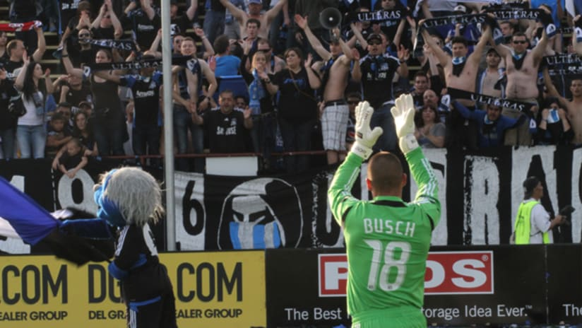 Jon Busch clapping with fans vs. Vancouver Whitecaps FC