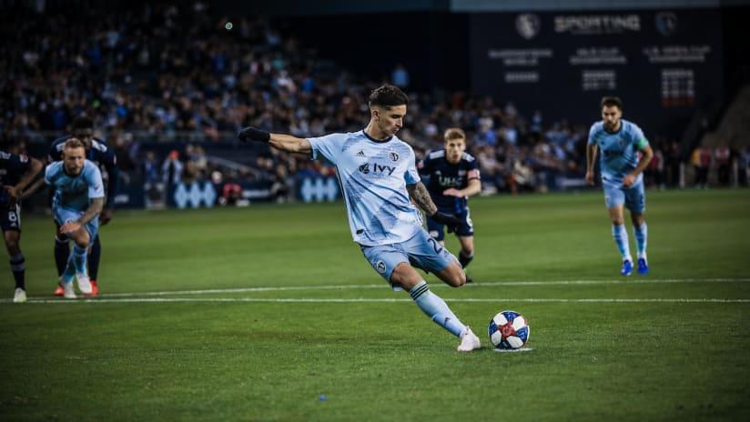 Felipe Gutierrez Kicking - Sporting KC v New England Revolution - April 27, 2019