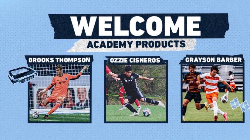 Grayson Barber, Ozzie Cisneros, Brooks Thompson - Sporting KC Homegrown Players 2-Across DL
