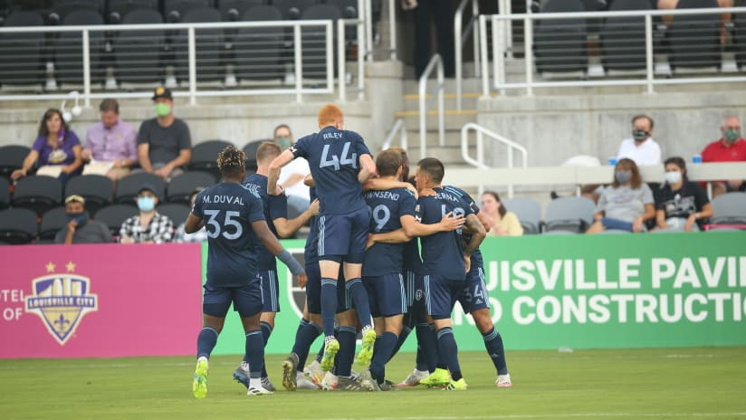 Team Celebration - Sporting KC II at Louisville City - July 29, 2020
