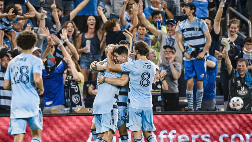 Team celebration - Sporting KC vs. Colorado Rapids - Aug. 28, 2021
