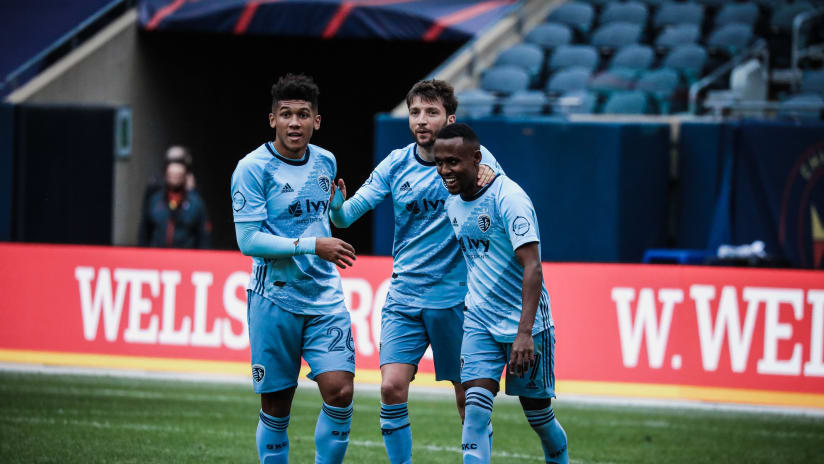 Team celebration - Sporting KC at Chicago Fire FC - Oct. 17, 2020