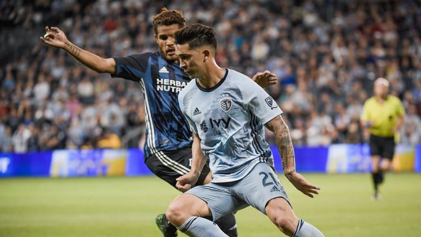 Felipe Gutierrez dribbling - Sporting KC vs. LA Galaxy - May 29, 2019