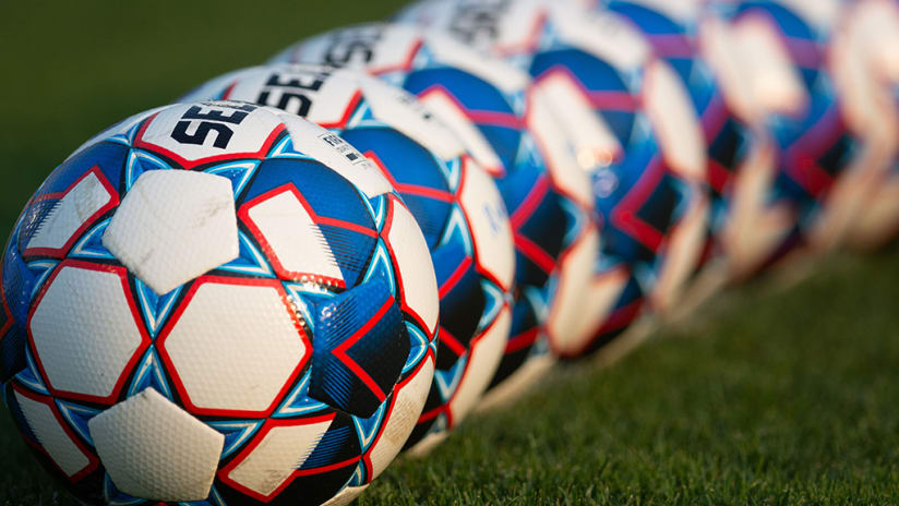 USL Select soccer balls in a row