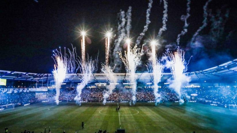 Children's Mercy Park fireworks - full stadium