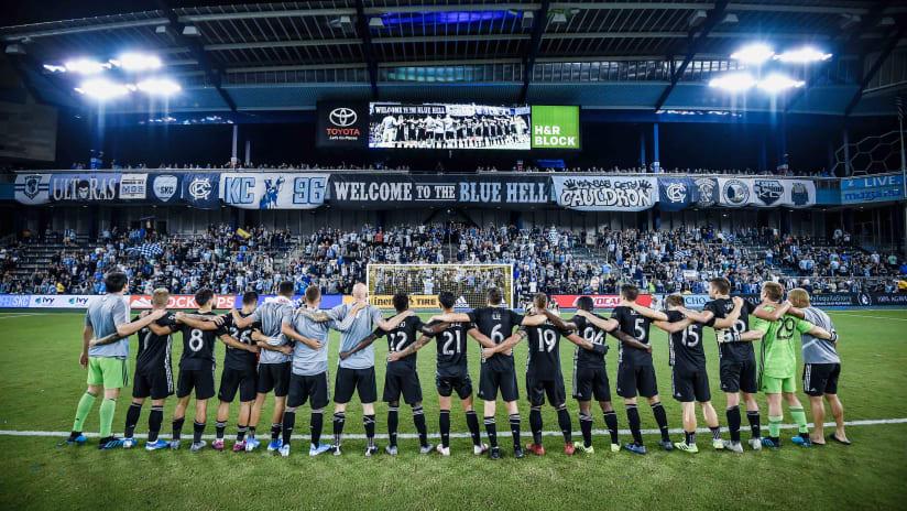 Team celebration with KC Cauldron postgame - Sporting KC vs. Houston Dynamo - Aug. 31, 2019