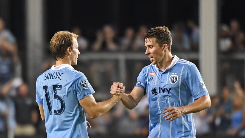Matt Besler and Seth Sinovic handshake - Sporting KC - July 2017