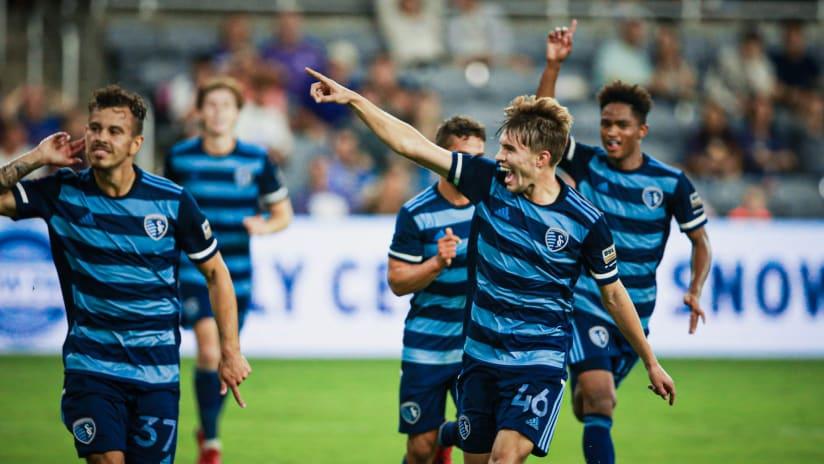 Jake Davis celebration - Sporting KC II at Louisville City FC - Oct. 9, 2021