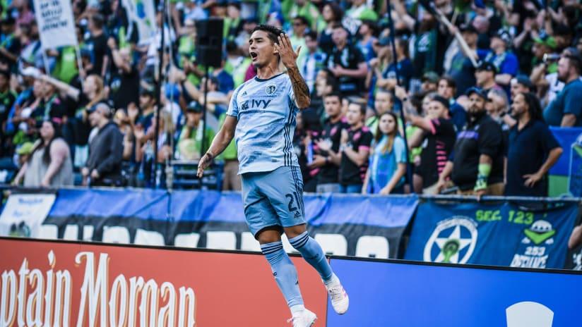 Felipe Gutierrez leaping celebration - Sporting KC at Seattle Sounders FC - Aug. 4, 2019