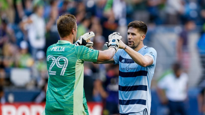 Tim Melia and Andreu Fontas - Sporting KC at Seattle - July 25, 2021