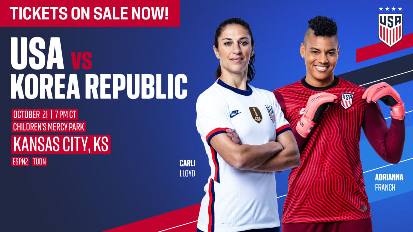 Tickets on sale for U.S. Women's National Team vs. Korea Republic on Oct. 21 at Children's Mercy Park
