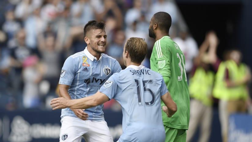 Diego Rubio, Seth Sinovic celebration - Sporting KC vs LA Galaxy - September 24, 2017