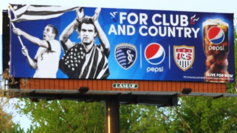 Pepsi Club and Country World Cup billboard with Graham Zusi and Matt Besler