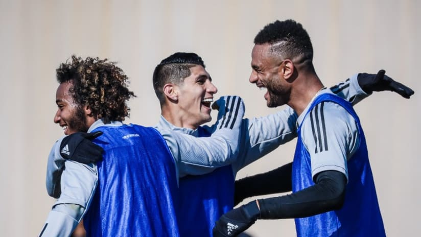 Gianluca Busio, Alan Pulido and Khiry Shelton - Sporting KC training