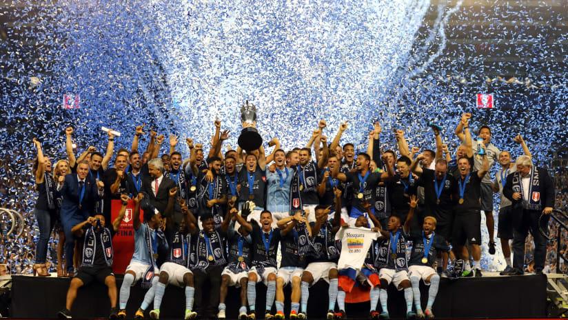 Team Celebration with trophy - Sporting KC vs New York Red Bulls - September 20, 2017