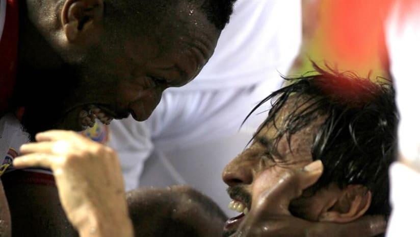 Waston celebration with Ruiz - Costa Rica