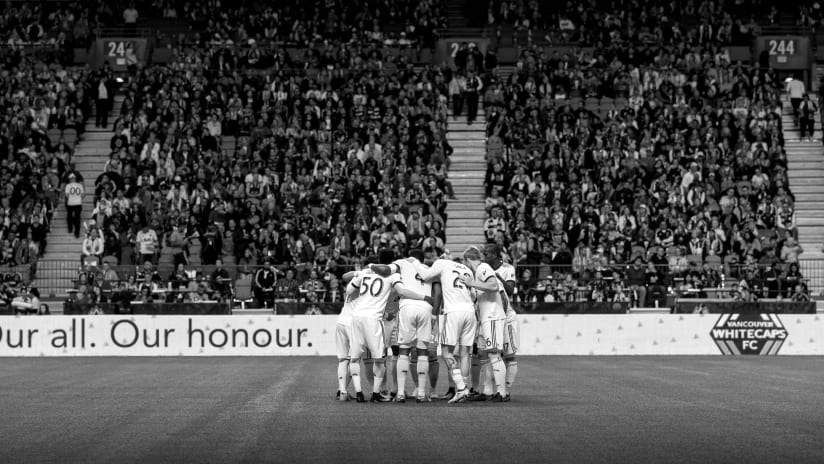 Our all our honour - black and white - bc place - huddle