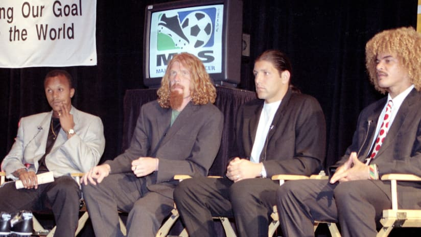 Four of MLS' marquee signings, from left, Doctor Khumalo (Columbus Crew), Alexi Lalas (New England Revolution), Tony Meola (NY/NJ MetroStars) and Carlos Valderrama (Tampa Bay Mutiny) await questions from the media during a press conference to preview the league's inaugural season.
