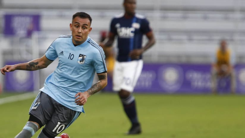 Miguel Ibarra chases down ball vs. New England in preseason