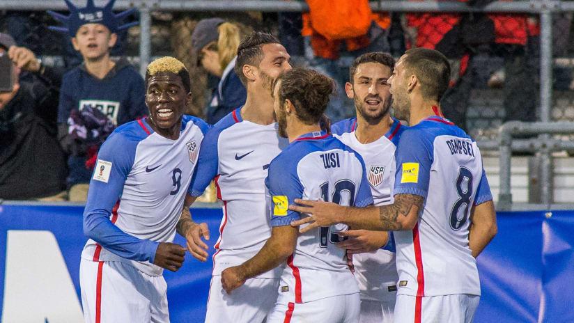 US national team - celebrating in win over Guatemala