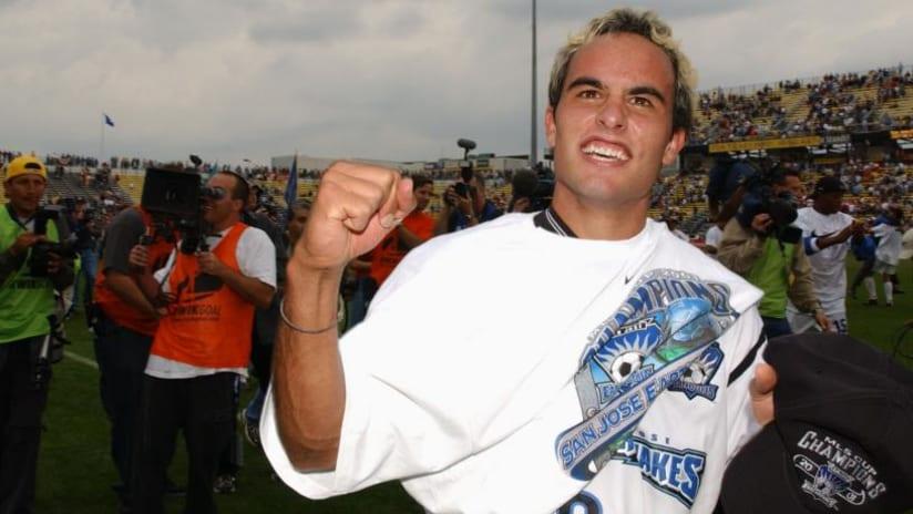 Landon Donovan celebrates 2001 MLS Cup