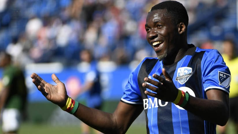 Ambroise Oyongo - celebrates a goal for the Montreal Impact - May 20, 2017