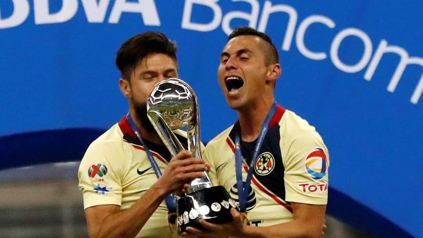 Paul Aguilar - Club America - with Liga MX trophy 2018