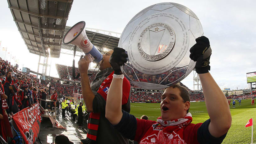 Toronto FC supporters hoist Supporters' Shield - October 15, 2017