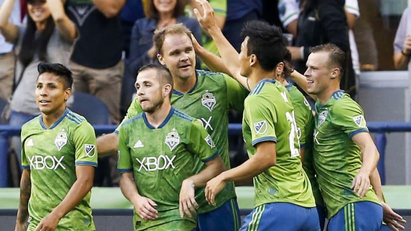 Seattle Sounders - celebrate - vs. FC Dallas