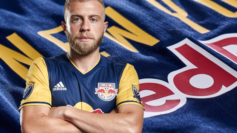Mike Grella in new Red Bulls 2016 secondary jersey
