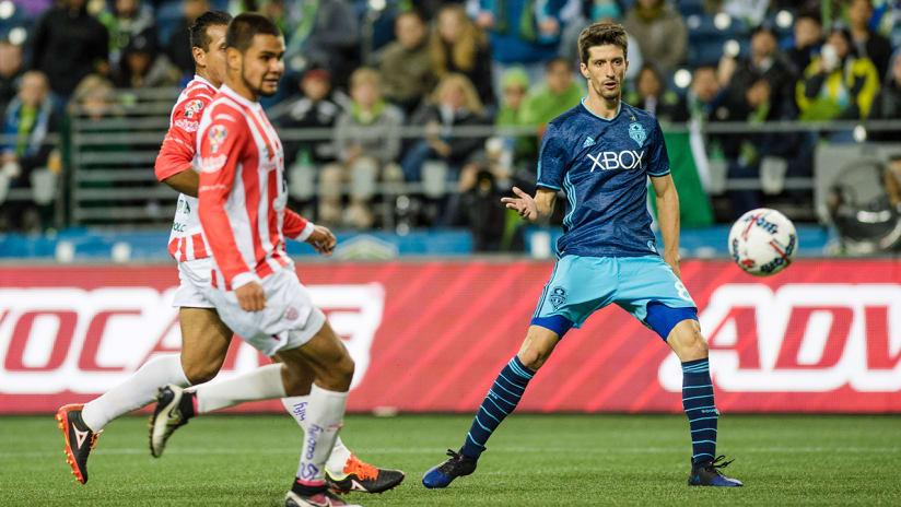 Alvaro Fernandez - Seattle Sounders - scoring in friendly vs. Necaxa, March 25, 2017