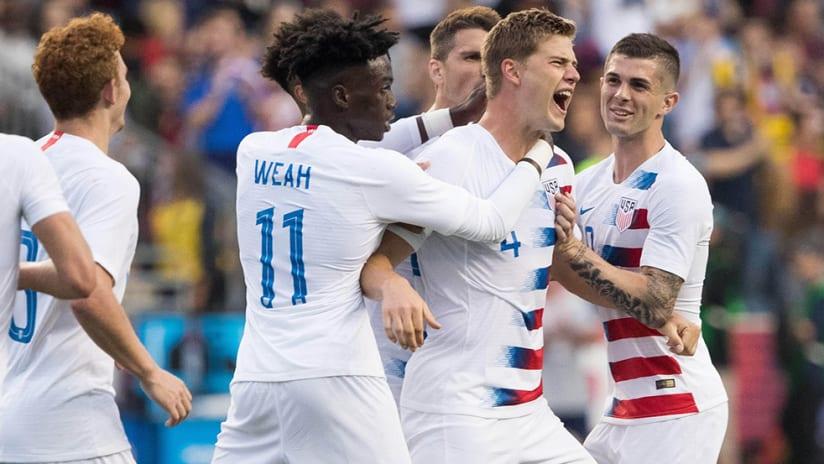 Walker Zimmerman - US national team - celebrating goal vs. Bolivia with teammates