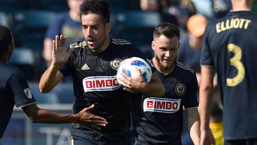 Philadelphia Union midfielder Ilsinho celebrates goal vs DC United