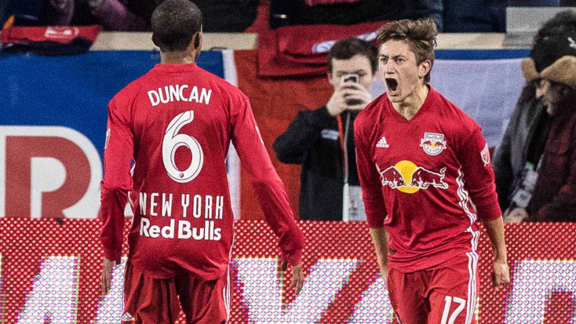 Ben Mines - New York Red Bulls - celebrates a goal with Kyle Duncan