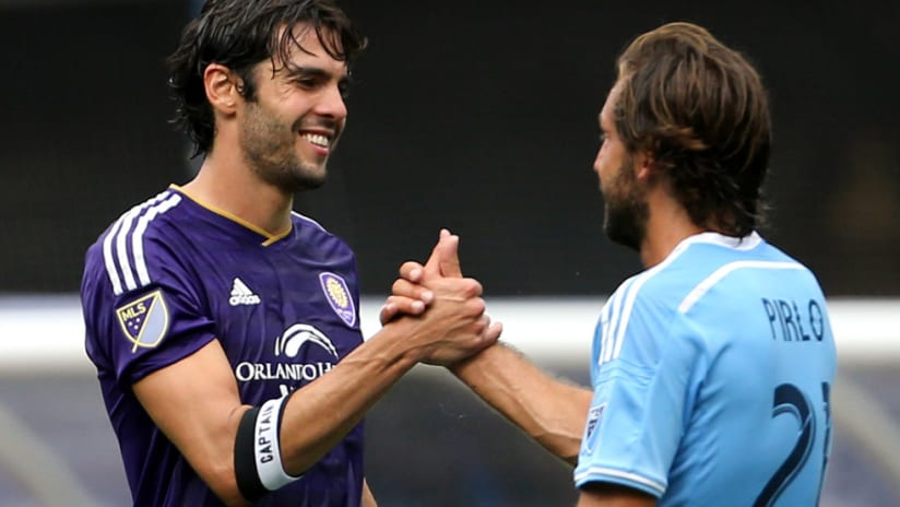 Kaká - Orlando City - Andrea Pirlo - New York City FC - shaking hands