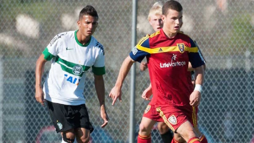 Brooks Lennon playing for the RSL academy