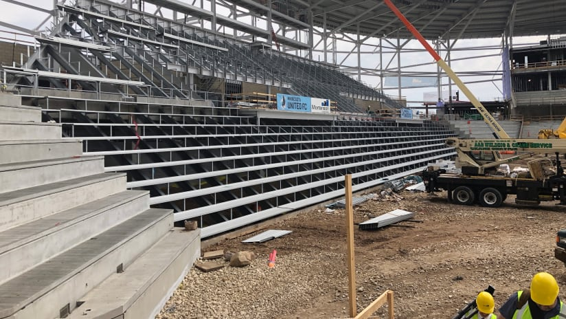 Allianz Field - Minnesota United - image of supporters section from tour at 50% completion point