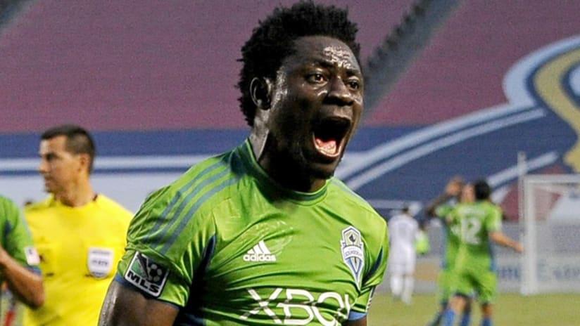 Obafemi Martins celebrates a goal against Chivas USA