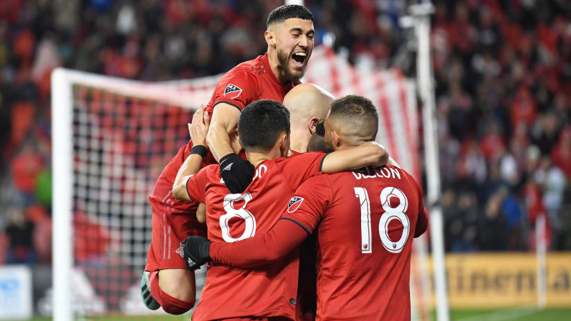 Jonathan Osorio - Toronto FC - celebrate a goal vs. D.C. United in the 2019 playoffs