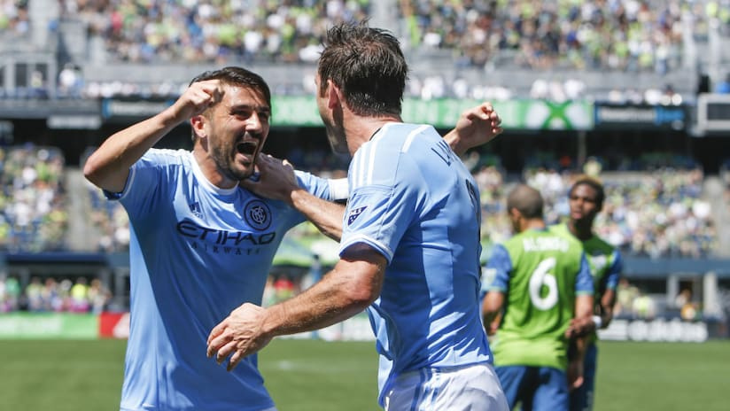 David Villa Frank Lampard celebrate - SEA vs. NYC 6.25.16