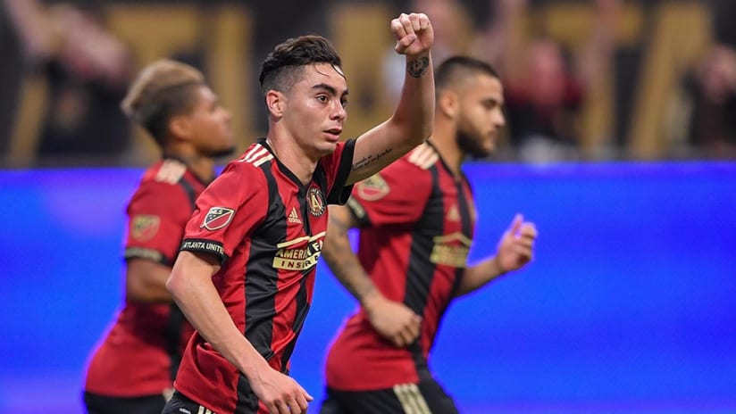 Miguel Almiron - pumps fist - after goal