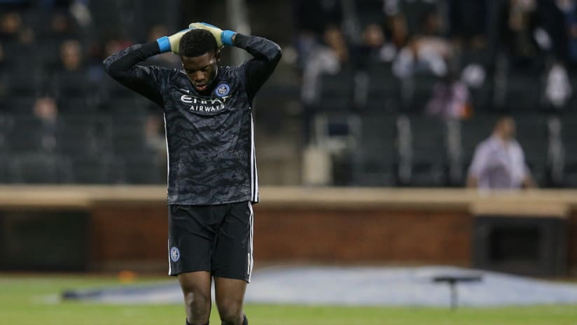 Sean Johnson dejected after 2019 playoff loss to Toronto FC