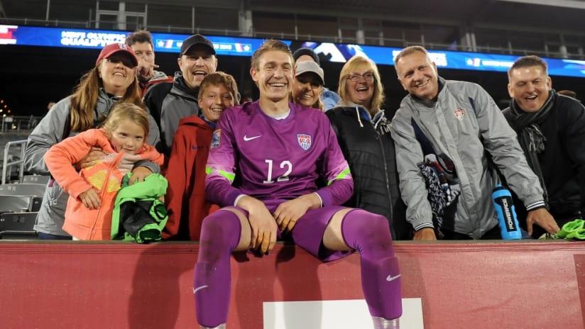 US U-23 national team goalkeeper Ethan Horvath celebrates with fans - 10/6/15 - Olympic qualifying