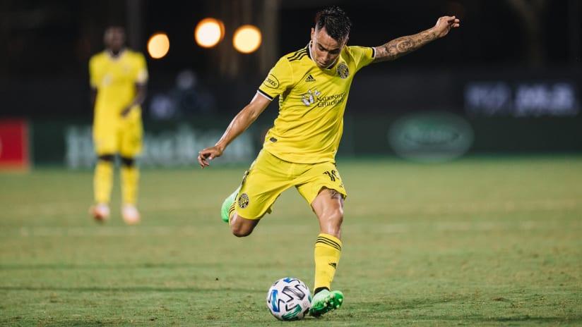 Lucas Zelarayan - Columbus Crew SC - strikes the ball