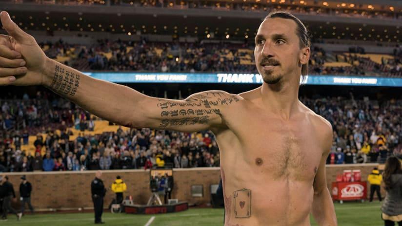 Zlatan Ibrahimovic - LA Galaxy - Shirtless after win