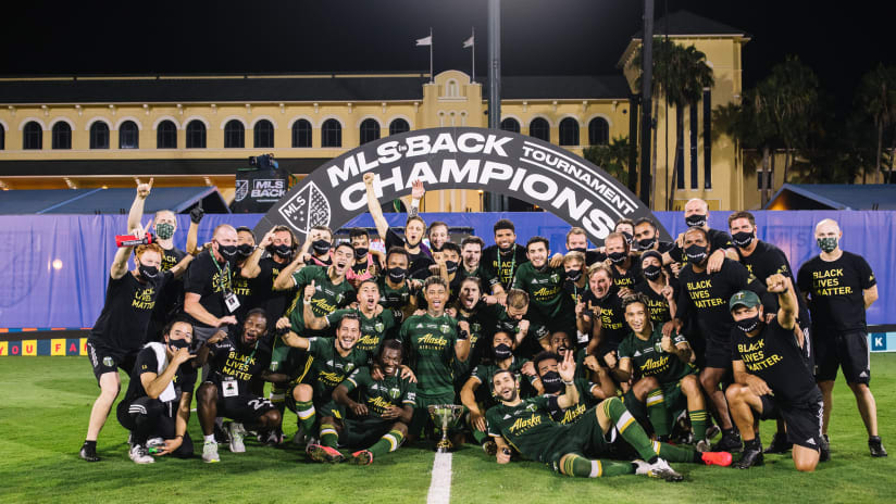 Portland Timbers celebrate with MLS is Back trophy